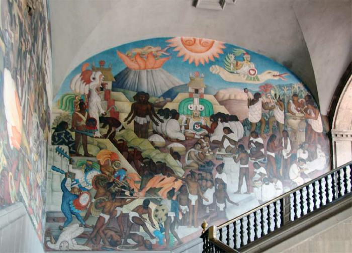 Diego rivera s quetzalcoatl mural for Diego riveras mural
